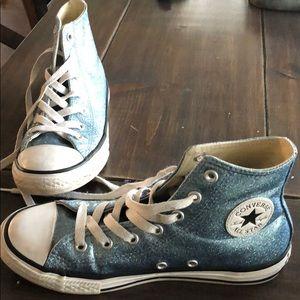 Girls Converse hi-tops blue sparkly sz 3